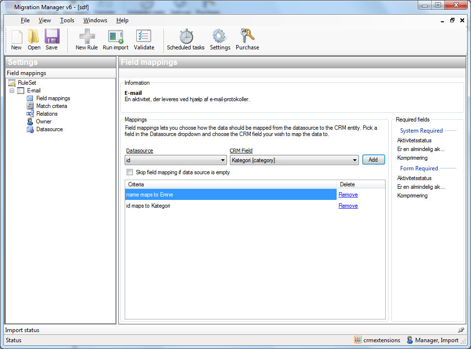 Import Manager integrated automatic field mapping