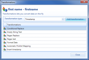 Import Manager automatic transformation