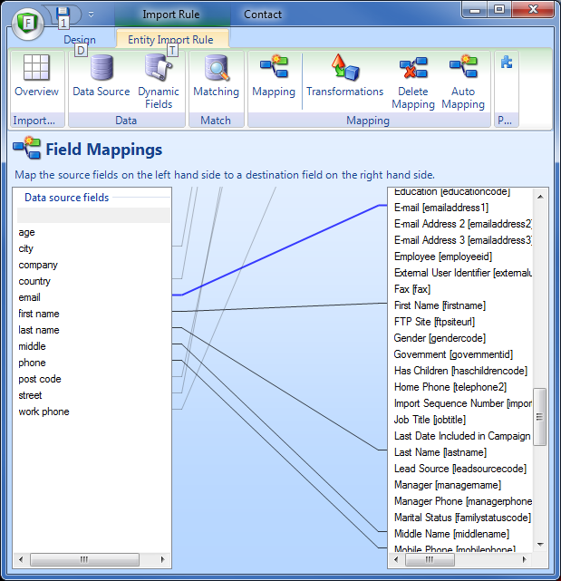 Import Manager Data Mapping